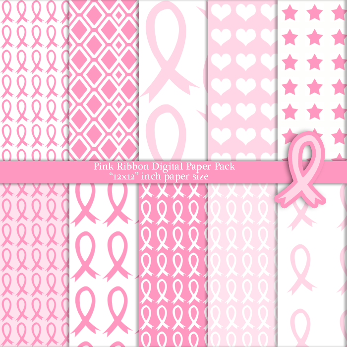 pink ribbon breast cancer awareness digital paper pack x on  10 pink ribbon breast cancer awareness digital paper pack 12x12