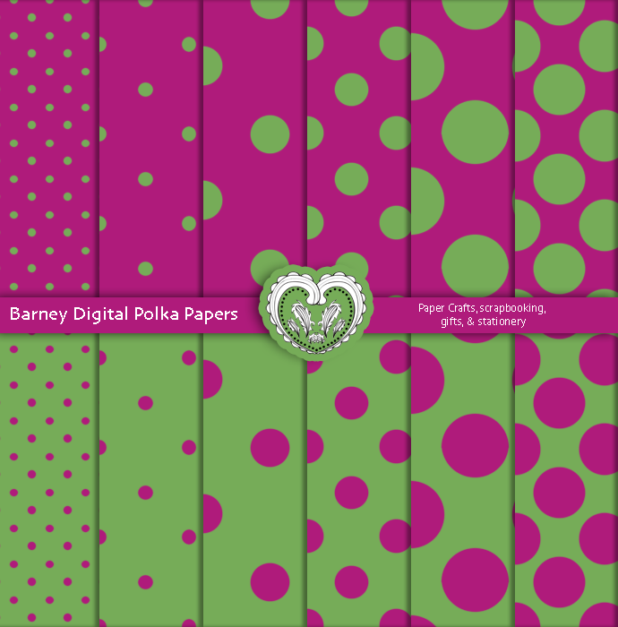 Barney Inspired Digital Polka Papers Purple And Green Printable