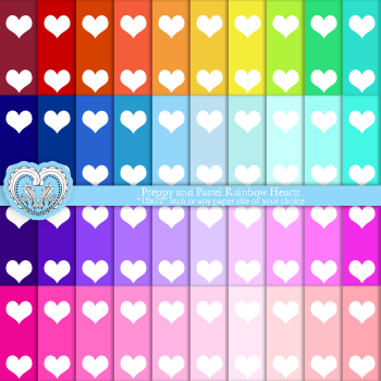 Hearts Digital Scrapbooking Paper Goods - Color Sheets - Pack of 40 textures