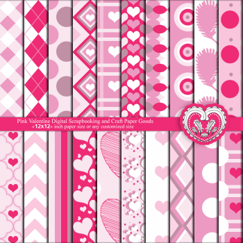 Valentine Digital Scrapbook and Craft Paper Goods - Pink hearts, love